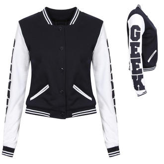 View Item Navy Blue GEEK Baseball Jacket